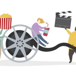 Illustration of character with movie reel